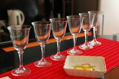 Glasses for wine on a table Stock Photos