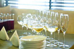 Glasses with wine on table Royalty Free Stock Image