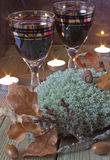 Glasses of wine on the table. Glasses of wine on a celebratory autumn table Stock Images