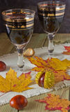 Glasses of wine on the table. Glasses of wine on a celebratory autumn table Royalty Free Stock Photos