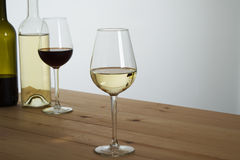 Glasses of Wine on table Stock Photo