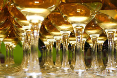 Glasses with wine on table. Party background Royalty Free Stock Images