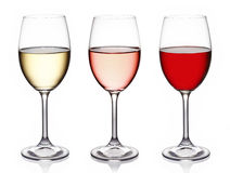 Glasses of wine. On white background Stock Photo