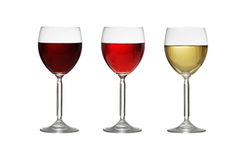 Glasses of wine on white background stock photo