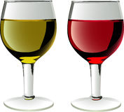 Glasses of wines. In . White and red wine Stock Photography