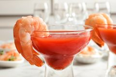 Glasses With Boiled Shrimps And Tomato Sauce Stock Photos