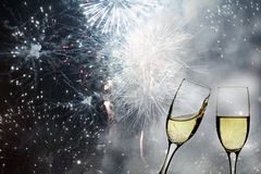 Free Glasses With Champagne Against Fireworks Royalty Free Stock Images - 44918159