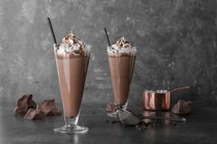 Free Glasses With Chocolate Milk Shakes Royalty Free Stock Images - 120444079