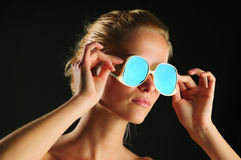 Glasses and woman Royalty Free Stock Images
