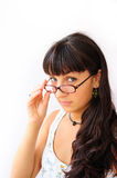 GLASSES WOMAN. Beautiful smiling woman wearing glasses Royalty Free Stock Image