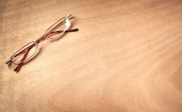 Glasses on a wood background. stock photo