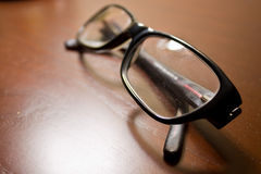 Glasses. In the wooden table closeup shot royalty free stock images