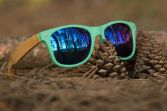 Glasses in the woods. Wooden glesses beautiful and fashion, natural trend stock photo