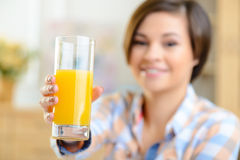 Glassful of fresh orange juice Stock Photos