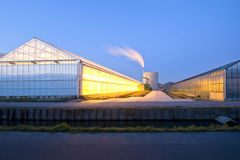 Glasshouse at dusk Stock Photography