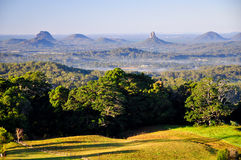 Glasshouse Mountains from Maleny. The Glasshouse Mountains in the Sunshine Coast hinterland, Queensland, Australia, taken from Maleny.  The Glasshouse Moutains Stock Photos