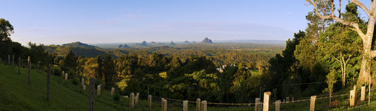 Glasshouse mountains panorama. Panorama image of Glasshouse mountains, Sunshine Coast, Queensland, Australia Stock Images