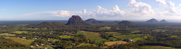 Glasshouse Mountains. This is a panorama of the Glasshouse Mountains towards the East as seen from the top of Mt Ngun Ngun Royalty Free Stock Photo