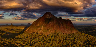 Glasshouse Mountains Queensland Australia. Aerial view of the Glasshouse Mountains Queensland Australia Stock Photo
