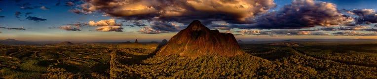 Glasshouse Mountains Queensland Australia. Aerial view of the Glasshouse Mountains Queensland Australia Stock Photography