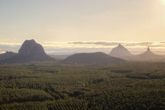 Glasshouse Mountains in Queensland, Australia Stock Photo