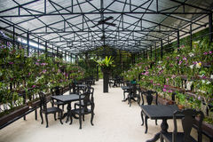 Glasshouse with tables and chairs Stock Images