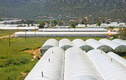 Glasshouses with plastic. Near village in Turkey Stock Photography