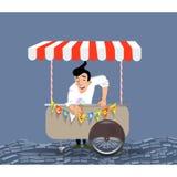 Glasslastbilen på hjul isolerade vitt manligt le för vektorglassförsäljare stock illustrationer