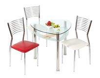 Glasspeisetisch und Stühle Lizenzfreies Stockfoto