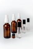 Glasspray und Rolle probieren verblassende Perspektive der Flaschen Lizenzfreies Stockbild