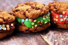 Glasssmörgåsar med jordgubben och choklad Choklad Chip Cookie Ice Cream Sandwich arkivfoto