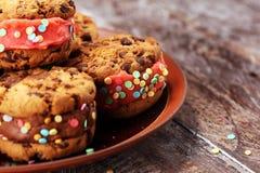 Glasssmörgåsar med jordgubben och choklad Choklad Chip Cookie Ice Cream Sandwich royaltyfri foto