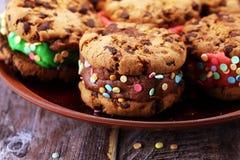 Glasssmörgåsar med jordgubben och choklad Choklad Chip Cookie Ice Cream Sandwich arkivbild