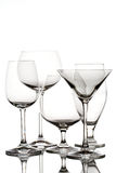 Glassware. Set of bar glassware against white background stock photo