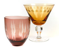 Glassware. Two vintage glasses. Isolated against a white background royalty free stock photo