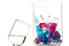 Glassware with ampoules Stock Photography