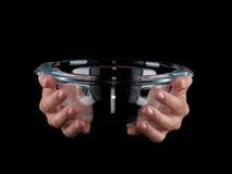glassware Bacia vazia em um fundo preto fotografia de stock royalty free