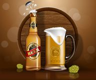 Beer bottle and mug, wooden barrel land hop. Glassware bottle of beer and mug with foam near wooden barrel and hop or malt. Alcohol drink realistic banner for Royalty Free Stock Photos