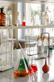 Glassware with chemical liquid in laboratory Royalty Free Stock Photo