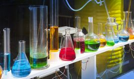 Glassware with colorful liquids. Still life Stock Photos