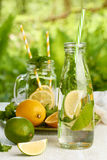 Glassware with fresh summer drinks on white wooden table Royalty Free Stock Photos