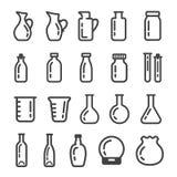 Glassware ikony set royalty ilustracja
