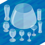 Glassware isometric flat icons set. Collection empty glassware simple flat pictograms. Set of transparent glasses goblets, vector icon. Cocktail glasses stock illustration