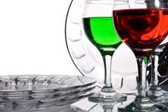 Glassware with multi-coloured liquids Stock Images