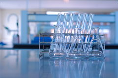 Glassware in science  lab. Flask and test tube glassware in science  lab Stock Photos