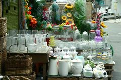 Glassware sold at a store in Dapitan Arcade in Manila, Philippines Stock Photos