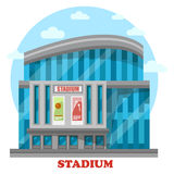 Glassware sport stadium building with posters Royalty Free Stock Photography