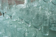 Glassware. On the store window under natural daylight royalty free stock photography