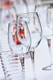 Glassware on table Stock Images