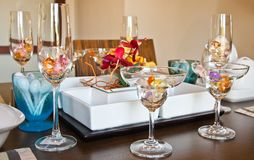 Glassware on table Royalty Free Stock Photography